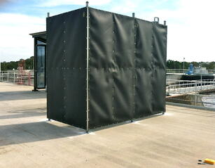 Acoustifence noise barrier quiets a water treament plant in Tampa Bay, FL