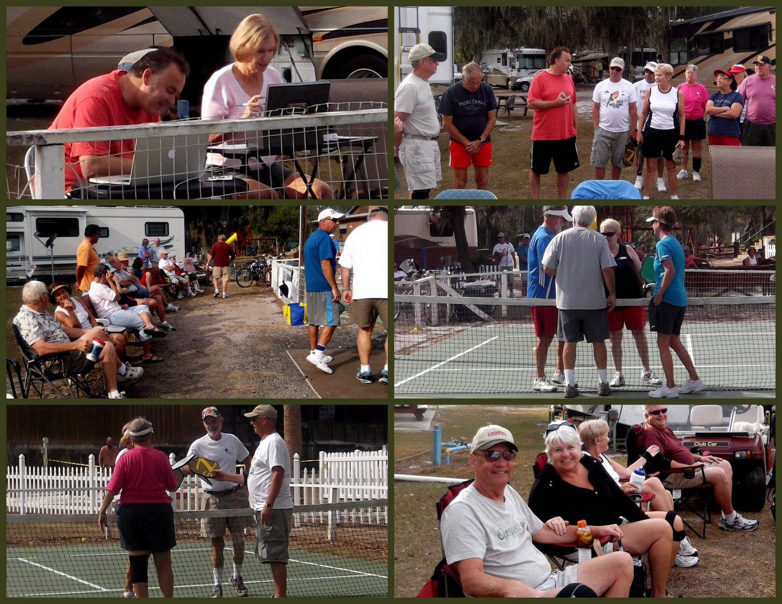 retirees enjoying pickleball collage