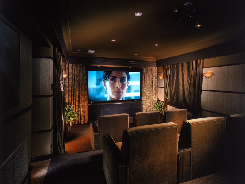 home theater with added soundproofing material as in acoustiblok