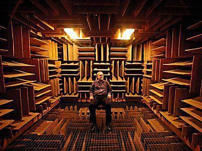 anechoic chamber with person in it
