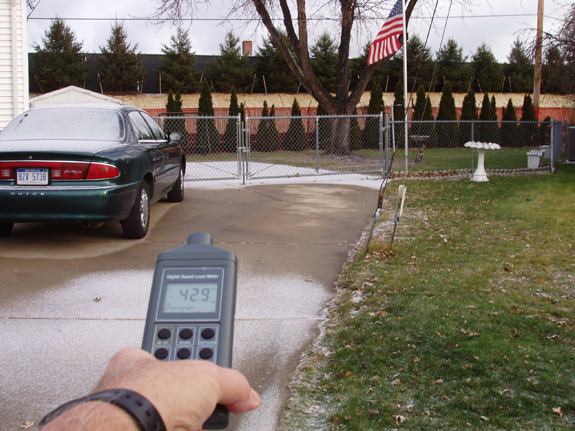 decibal readings at residence after noise barrier was installed