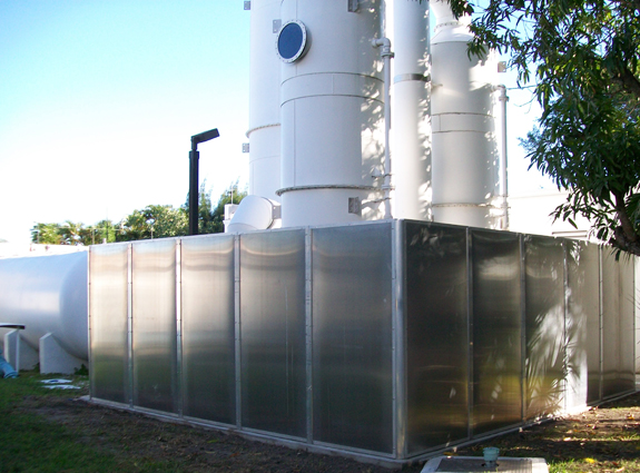 noise is bocked and absorbs with Acoustiblok All Weather Sound Panels at a water treatment facility